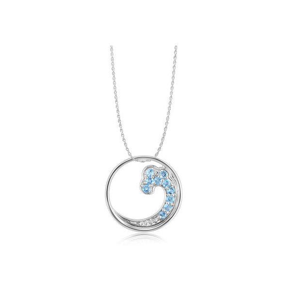 Blue Topaz Wave Pendant Image 2 Johnny's Lakeshore Jewelers South Haven, MI