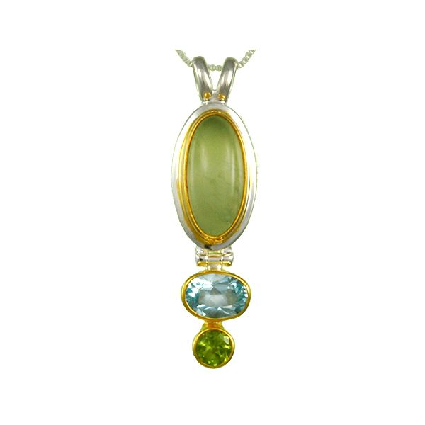 Silver Peridot and Blue Topaz Pendant Johnny's Lakeshore Jewelers South Haven, MI