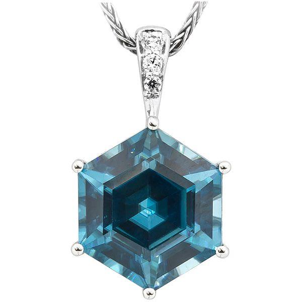 Blue Zircon and Diamond Pendant Johnnys Lakeshore Jewelers South Haven, MI
