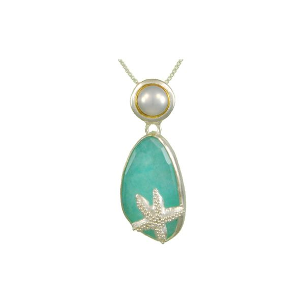 Amazonite with Pearl Pendant Johnny's Lakeshore Jewelers South Haven, MI