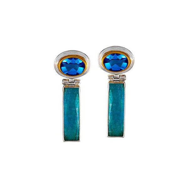 Amozonite and Blue Topaz Earrings Johnnys Lakeshore Jewelers South Haven, MI