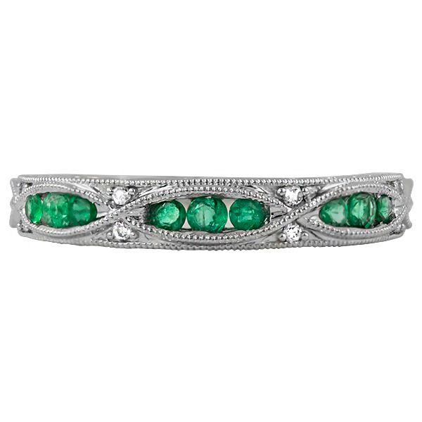Emerald and Diamond Band Johnny's Lakeshore Jewelers South Haven, MI