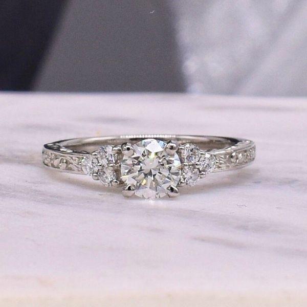 Platinum Cluster-Side Engagement Ring  Jones Jeweler Celina, OH