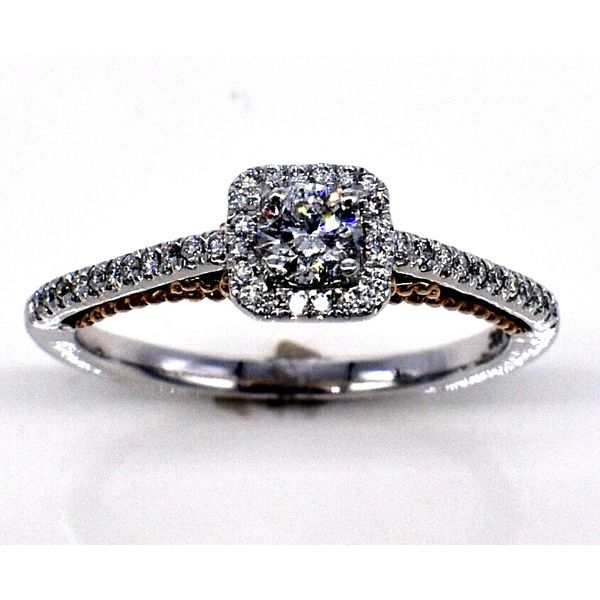 14K Two Tone Halo Engagement Ring Jones Jeweler Celina, OH
