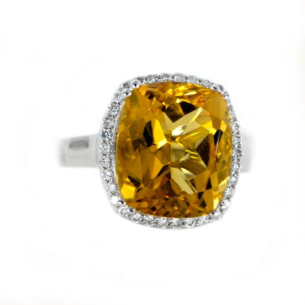 Citrine and Diamond Ring in White Gold J. Schrecker Jewelry Hopkinsville, KY