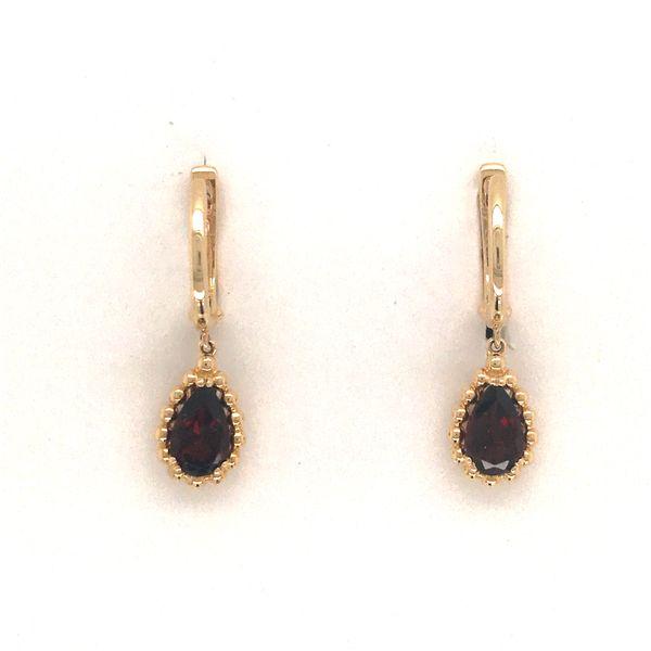 14K Yellow Gold Garnet Earrings JWR Jewelers Athens, GA