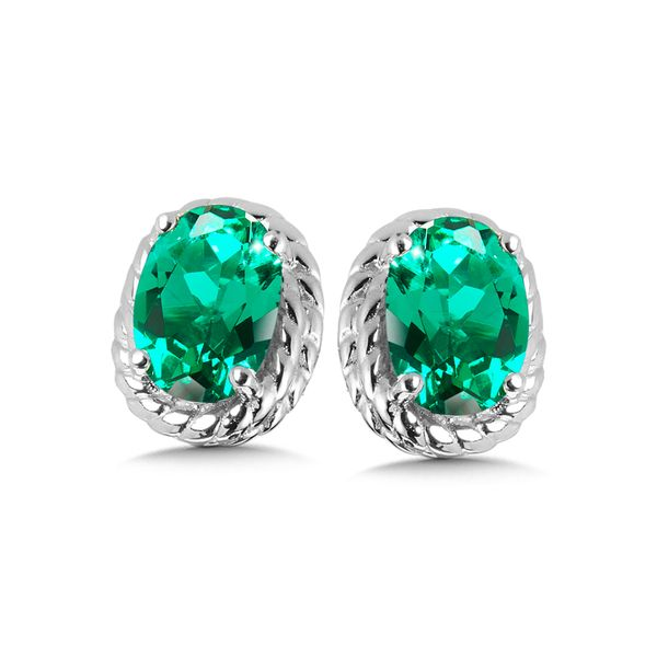 Sterling Silver Created Emerald Earring Studs JWR Jewelers Athens, GA