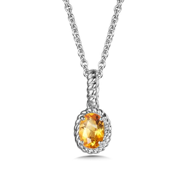 Sterling Silver Citrine Pendant with Chain JWR Jewelers Athens, GA