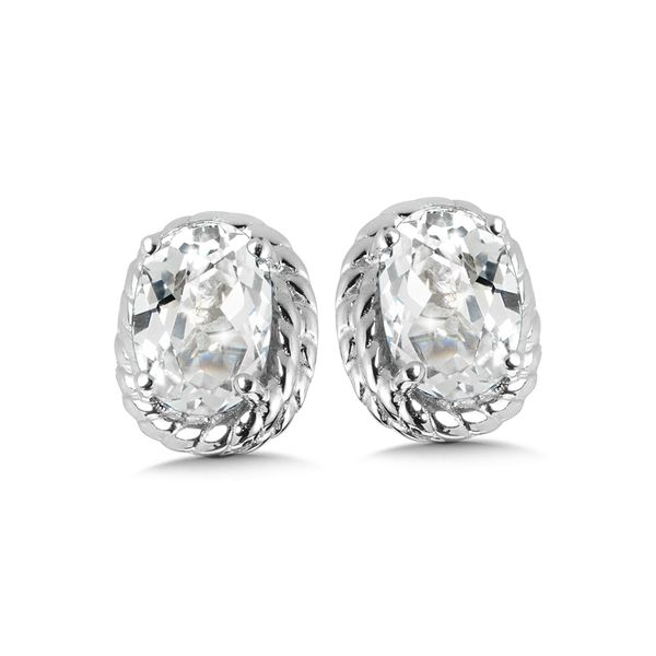 Sterling Silver Created White Sapphire Earring Studs JWR Jewelers Athens, GA