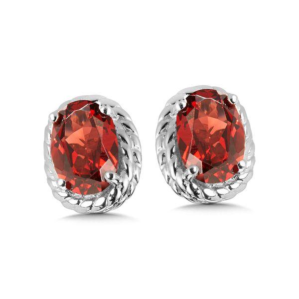 Sterling Silver Garnet Earring Studs JWR Jewelers Athens, GA