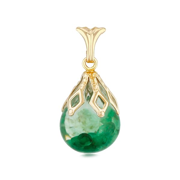 14-Karat Yellow Gold Floating Emerald Pendant with Chain JWR Jewelers Athens, GA