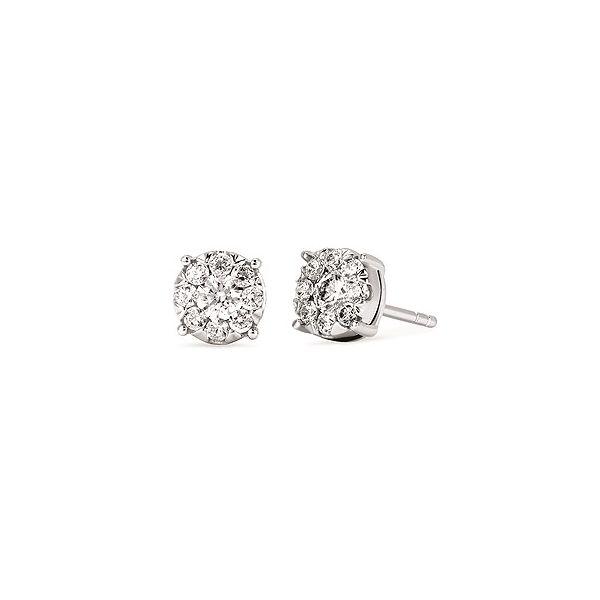 Diamond Cluster Earrings JWR Jewelers Athens, GA