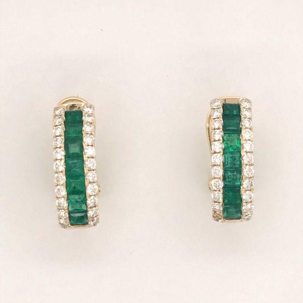 14K Yellow Gold Emerald and Diamond Earrings JWR Jewelers Athens, GA