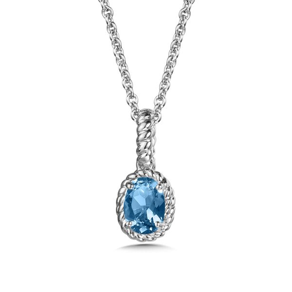 Sterling Silver Oval Blue Topaz Pendant with Chain JWR Jewelers Athens, GA