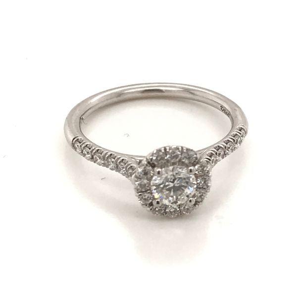 14K White Gold Diamond Halo Engagement Ring JWR Jewelers Athens, GA