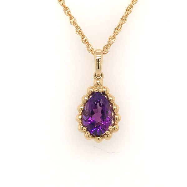 14K Yellow Gold Amethyst Necklace JWR Jewelers Athens, GA