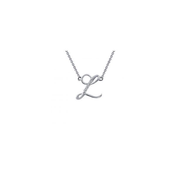 "Lafonn Sterling Silver with Bonded Platinum Initial Pendant ""L"" with 18"" Chain  JWR Jewelers Athens, GA"