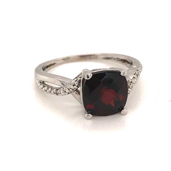 14K White Gold Garnet Ring JWR Jewelers Athens, GA