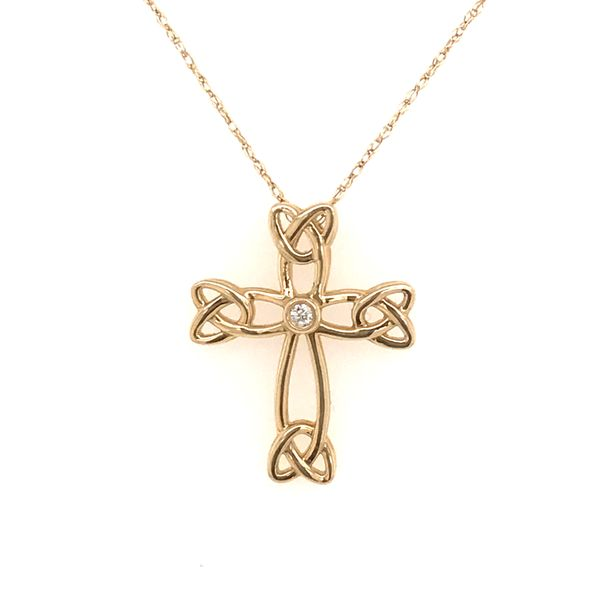 14K Yellow Gold Diamond Cross Necklace JWR Jewelers Athens, GA