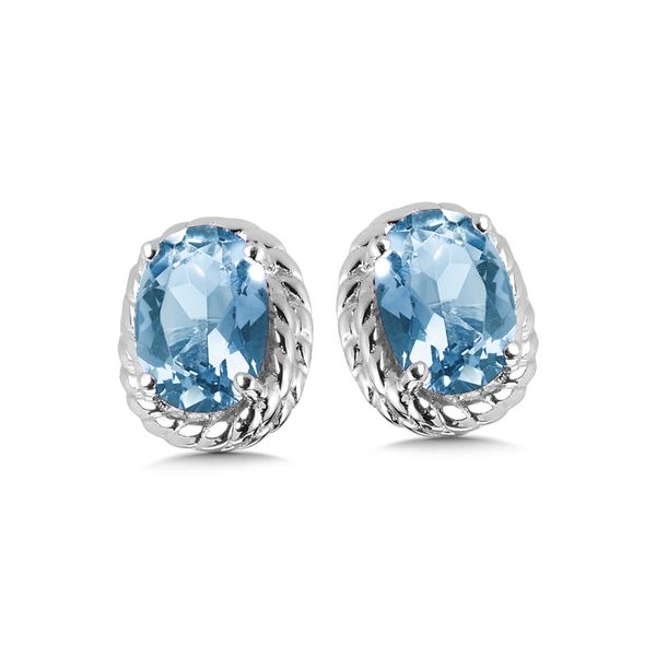 Sterling Silver Blue Topaz Earring Studs JWR Jewelers Athens, GA