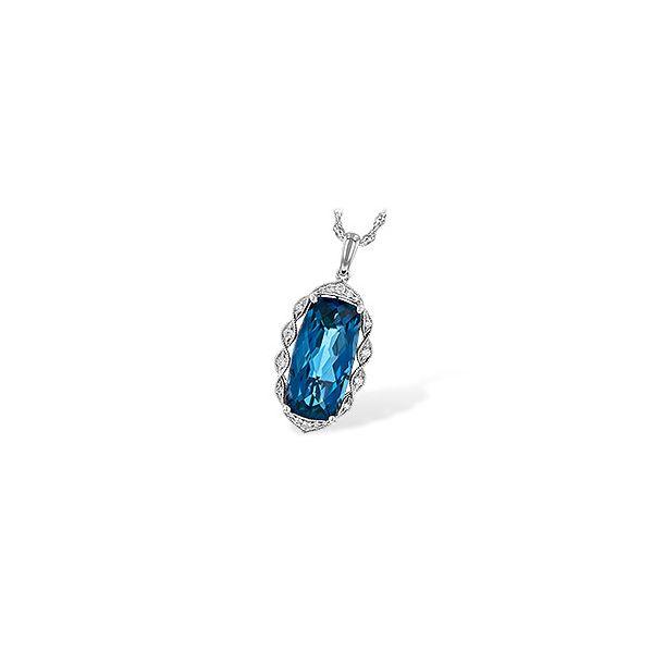 14K White Gold Blue Topaz and Diamond Necklace JWR Jewelers Athens, GA