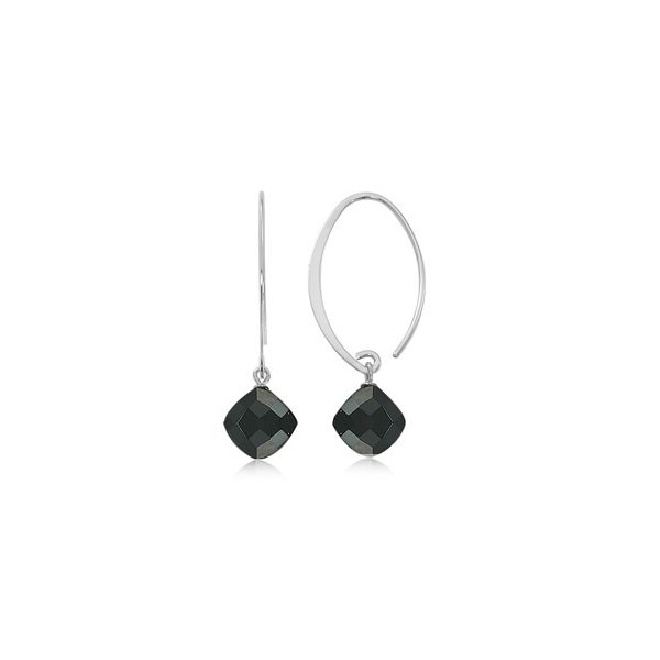 Sterling Silver Dangle Onyx Earrings JWR Jewelers Athens, GA
