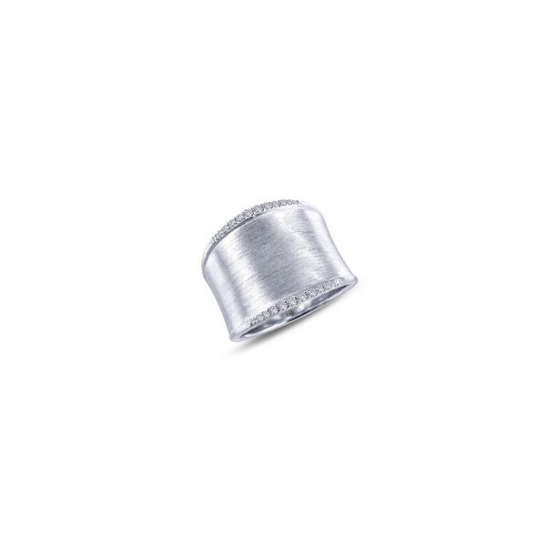 Lafonn Platinum Bonded Sterling Silver  0.20 twt  Lassaire Stone Cuff Ring JWR Jewelers Athens, GA