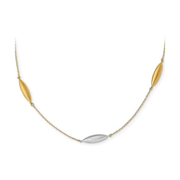 14-Karat Yellow and White Gold 3 Satin Bead Station Necklace JWR Jewelers Athens, GA