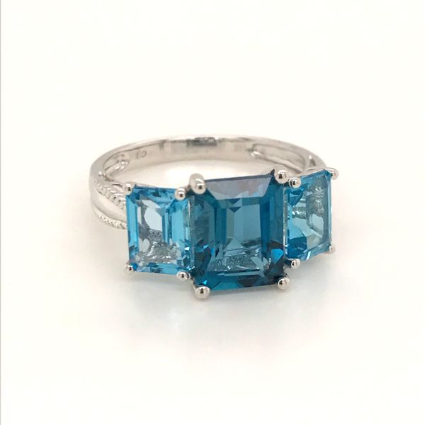 14K White Gold Blue Topaz Ring JWR Jewelers Athens, GA