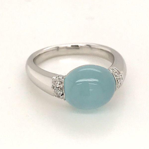 14K White Gold Aquamarine and Diamond Ring JWR Jewelers Athens, GA