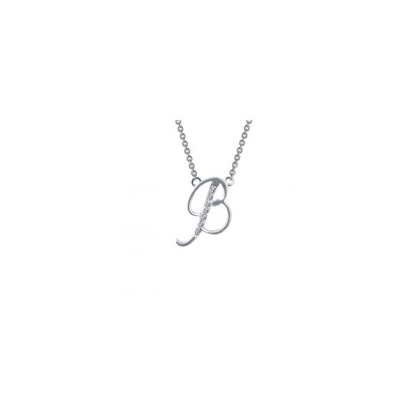"""Lafonn Sterling Silver with Bonded Platinum Initial Pendant """"B"""" with 18"""" Chain  JWR Jewelers Athens, GA"""