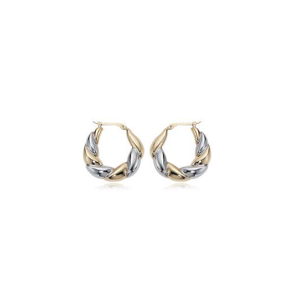 14-Karat Two Tone Gold Hoop Earrings JWR Jewelers Athens, GA