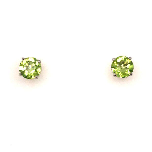14K White Gold Peridot Earrings JWR Jewelers Athens, GA
