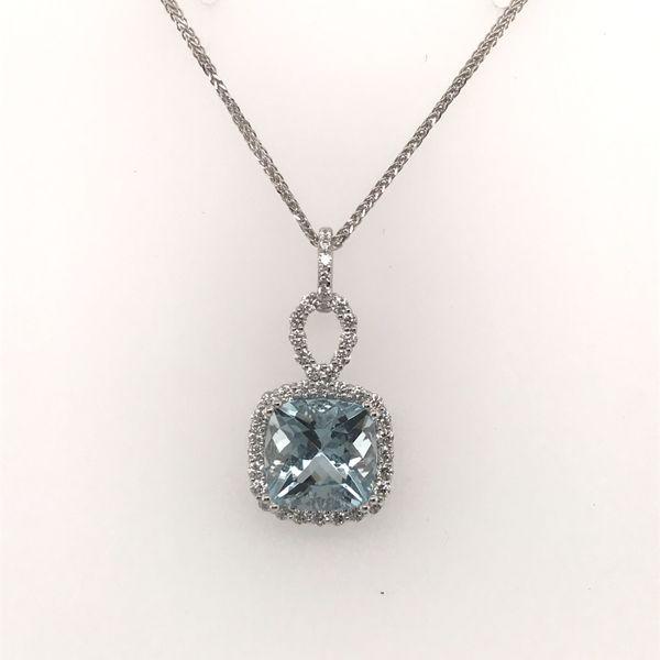 14K White Gold Aquamarine and Diamond Pendant JWR Jewelers Athens, GA