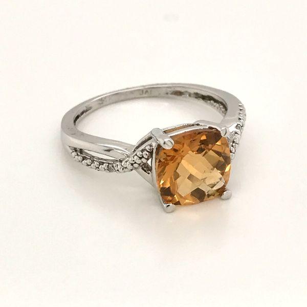 14K White Gold Golden Topaz Ring JWR Jewelers Athens, GA