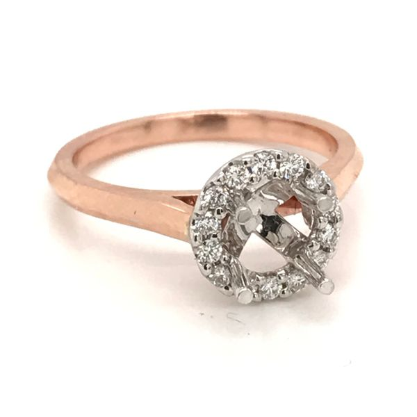 14K Rose Gold Halo Semi-Mount Engagement Ring JWR Jewelers Athens, GA