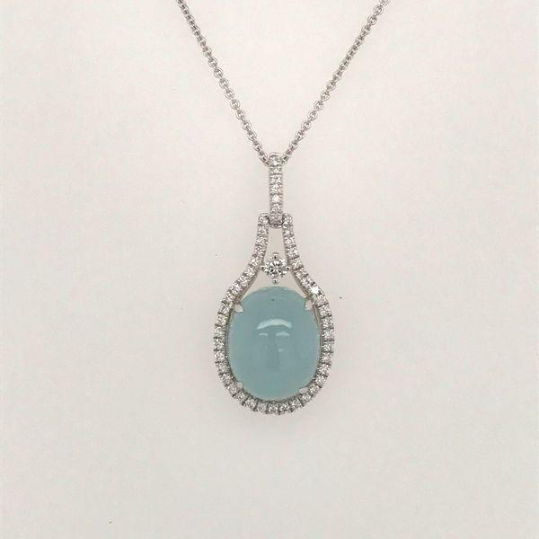 14K White Gold Aquamarine and Diamond Necklace JWR Jewelers Athens, GA