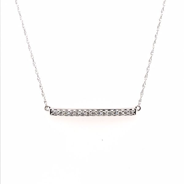 14K White Gold Diamond Bar Necklace JWR Jewelers Athens, GA