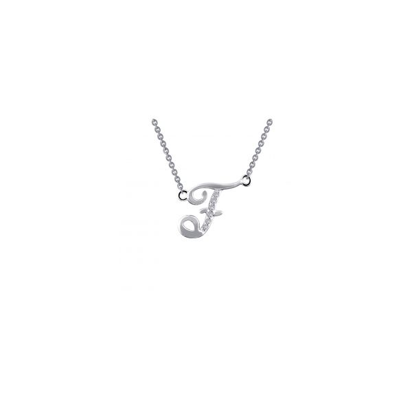 """Lafonn Sterling Silver with Bonded Plantinum Initial Pendant """"F"""" with 18"""" Chain  JWR Jewelers Athens, GA"""