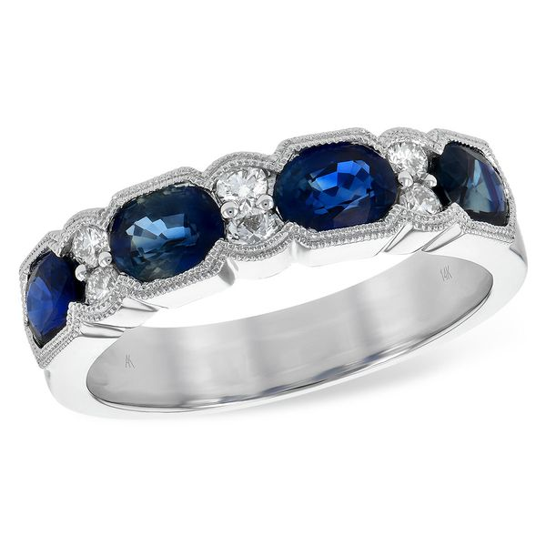 14-Karat White Gold Sapphire and Diamond Band JWR Jewelers Athens, GA