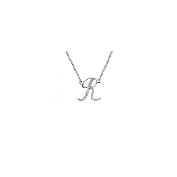 "Lafonn Sterling Silver with Bonded Platinum Initial Pendant ""R"" with 18"" Chain  JWR Jewelers Athens, GA"