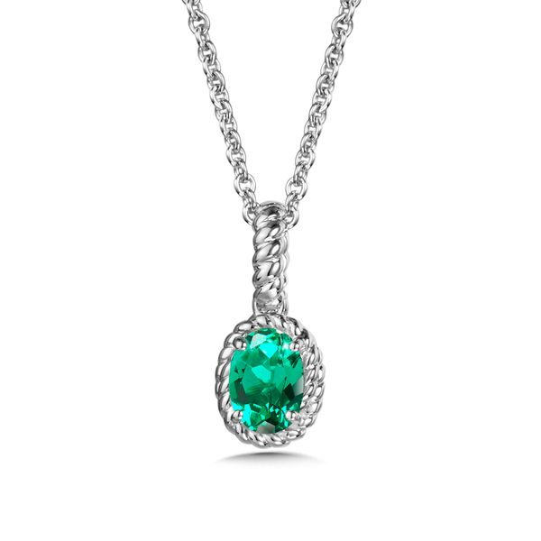 Sterling Silver Created Emerald Pendant with Chain JWR Jewelers Athens, GA