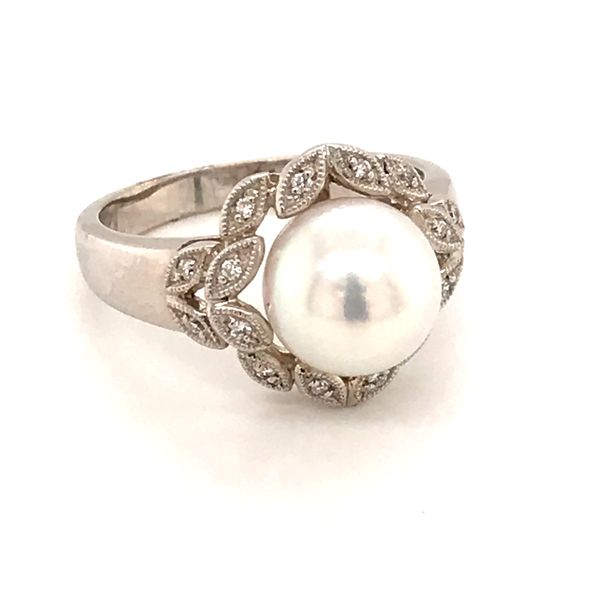 14-Karat White Gold Akoya Cultured Pearl and Diamond Ring JWR Jewelers Athens, GA