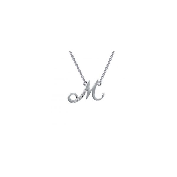 """Lafonn Sterling Silver with Bonded Platinum Initial Pendant """"M"""" with 18"""" Chain  JWR Jewelers Athens, GA"""