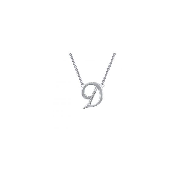 """Lafonn Sterling Silver with Bonded Platinum Initial Pendant """"D"""" with 18"""" Chain  JWR Jewelers Athens, GA"""