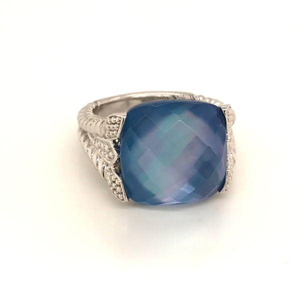 Sterling Silver Qtz and Blue Shell Doublet Ring JWR Jewelers Athens, GA