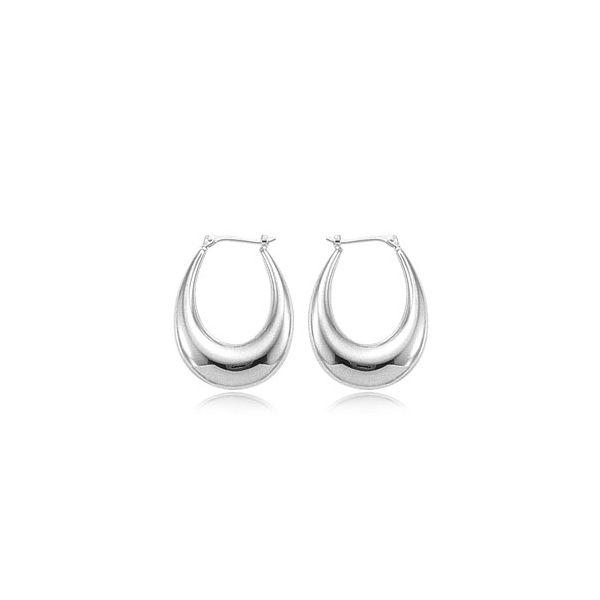 14-Karat White Gold Hoop Earrings JWR Jewelers Athens, GA