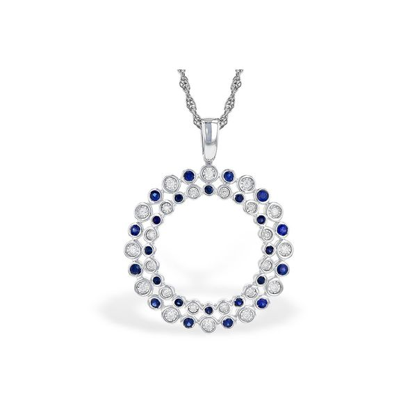 14K White Gold Sapphire and Diamond Necklace JWR Jewelers Athens, GA