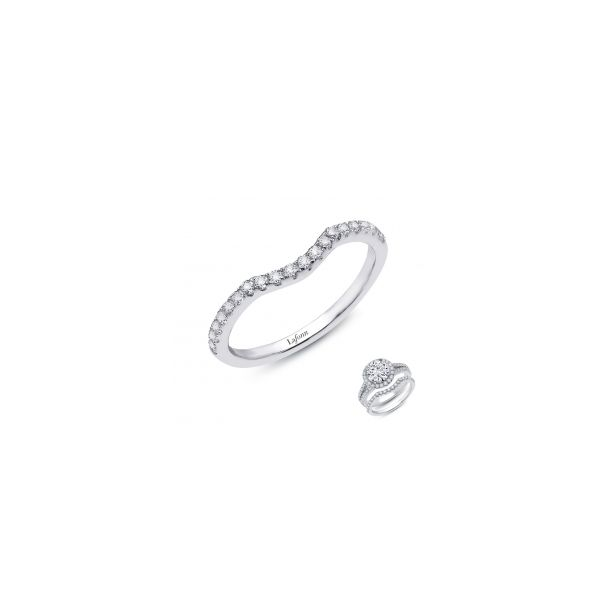 Lafonn Platinum Bonded Sterling Silver  0.30 twt  Lassaire Stone Curved Wedding Band JWR Jewelers Athens, GA