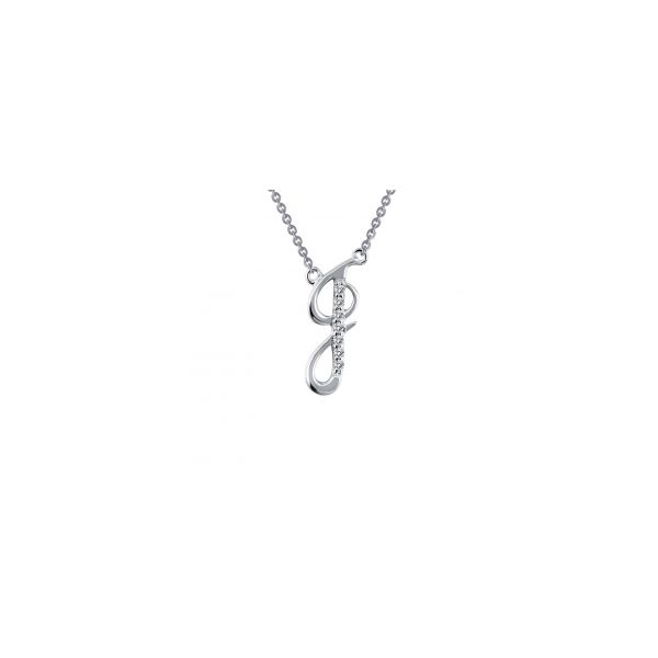 """Lafonn Sterling Silver with Bonded Platinum Initial Pendant """"J"""" with 18"""" Chain  Image 2 JWR Jewelers Athens, GA"""